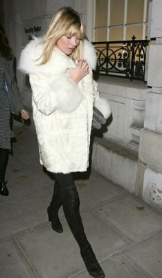 Kate Moss in a White Fur.