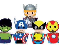 INSTANT DOWNLOAD Avengers Superhero Kids Cupcake Toppers & Wrappers - Printables on Etsy, $8.00