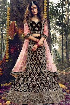 Wine velvet semi stitch lehenga with velvet choli. This lehenga choli is embellished with zari, stone and dor iwork. Product are available in 32 to 58 sizes. It is perfect for Bridal Wear. #wine #bridal #lehanga #choli# Andaazfashion #Malaysia Indian Wedding Lehenga, Bridal Lehenga Choli, Bollywood Lehenga, Lehenga Dupatta, Lehenga Choli Online, Indian Lehenga, Saree Wedding, Anarkali, Indian Bridal