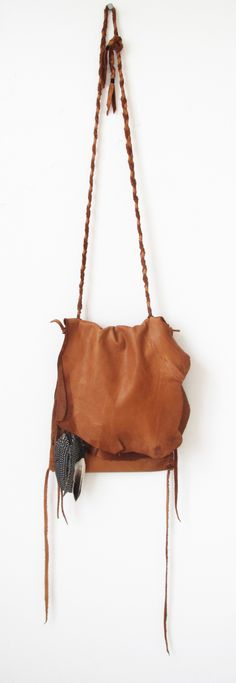ab02303a4f99 Nomad Bag in Saddletan with Braided Strap and Natural Feathers Cowgirl  Chic