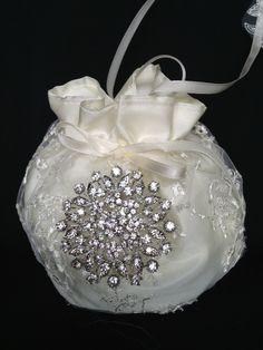 Bridal Money Purse, Ivory or White  Lace Wedding Bag, Wedding Purse, Rhinestone Embellishment - pinned by pin4etsy.com