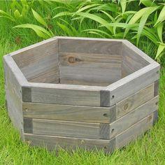 Medium 20 x 20 x 9-inch Hexagon Fir Wood Barrel Planter-Outdoor > Gardening > Planters-Loluxe