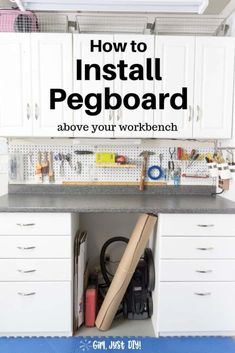 Click over to get tips and learn how to install  pegboard over your garage workbench or anywhere you need hanging storage. #pegboardorganization #pegboardideas #howtohangpegboard #pegboardwall #garagepegboard