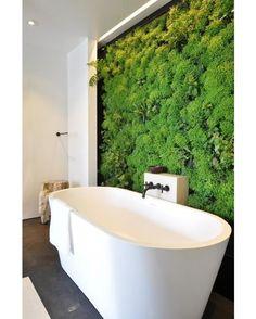Green Bathroom #bathroom #bathtub #interior #interiors #interiordesign #design #architecture by homeadore