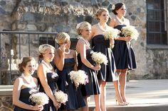 black bridesmaids dresses with white babys breath bouquets