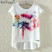 KaiTingu Fashion Summer Kawaii Cute T Shirt Harajuku High Low Style Cat Print T-shirt Short Sleeve T Shirt Women Tops M XL Size(China)
