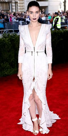 Rooney Mara in a plunging Givenchy gown at the Costume Institute Gala
