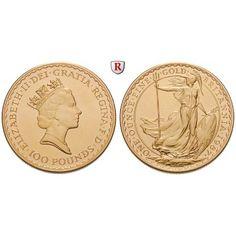 Grossbritannien, Elizabeth II., 100 Pounds seit 1987, 31,1 g fein, st: Elizabeth II. seit 1952. 100 Pounds 31 mm 31,1 g fein, seit… #coins