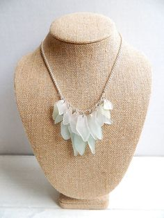 Handcrafted Sea Glass Fringe Necklace -  Seafoam Green & White Chesapeake Bay Seaglass Jewelry. $29.00, via Etsy.