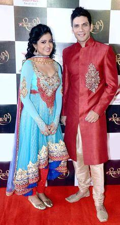 'Ek Ghar Banaunga' actress Ishita Dutta and 'Meri Bhabhi' actor Vipul Gupta at the taping of a Diwali special. #Bollywood #Fashion #Style #Beauty