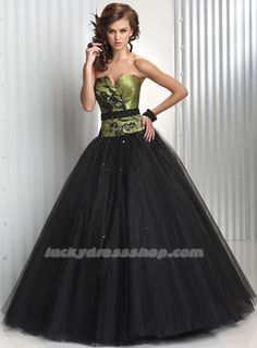 Black Ball Gown Strapless Long/Floor-length Tulle Prom Dress (MF421F)-LuckyDressShop.com - Mama