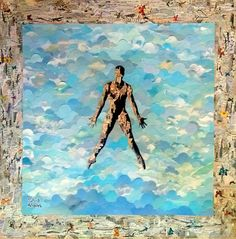 O chamado - collage sobre MDF - 2014 - colagem de Silvio Alvarez - arte, art, collage, colagem, collage art, collage artist, paper, papel, revistas, recortes, sustentabilidade, reciclagem, reaproveitamento, arte ambiental, brazilian art, silvio Alvarez, surrealism, surrealismo, surreal, collagework, silhueta, homem, danca, dancarino, musica, ceu, cartas, sky, borboletas, butterfly
