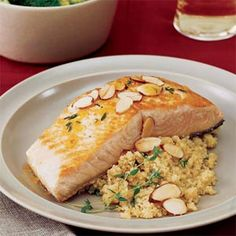 Orange-Seared Salmon with Almonds - because I miss my salmon when the grill is covered with snow. The orange sauce is amazing not only on the salmon but with brocolli and a delicious orange/wild rice salad on the side. Dinner perfected.