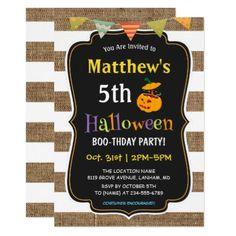 Pumpkin Burlap Halloween Kids Birthday Party Card - invitations custom unique diy personalize occasions