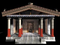 Il tempio etrusco, architettura religiosa degli etruschi ~ Modellino di tempio etrusco ~ Etruscan ~ Veio (Roma) - Model of the Etruscan temple of Portonaccio painted and decorated as it might have appeared