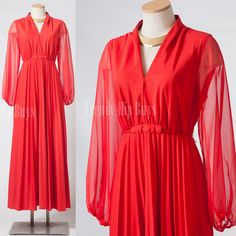 Vintage 70s maxi dress Sexy Red pleated by TrendyHipBuysVintage, $78.00
