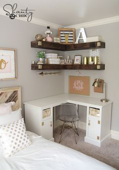 Corner shelves could work well in bedroom...    16 Ideas for the Most Organized Desk Ever
