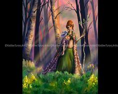 Fantasy Art, Herald of Spring, Digital Painting, Portrait Painting, Original Art, Seasonal Painting, Digital Art,  Spring Painting