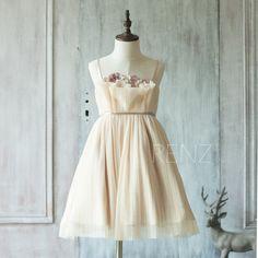 Natalie - 2016 Beige Junior Bridesmaid Dress Ruched Flower Girl by RenzRags