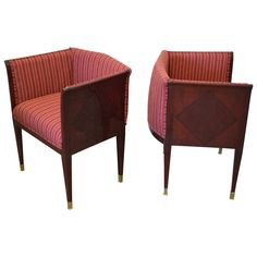 Pair of Art Deco Inlaid Paneled Armchairs in the Style of Eliel Saarinen | From a unique collection of antique and modern armchairs at https://www.1stdibs.com/furniture/seating/armchairs/