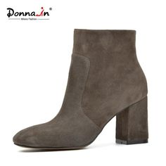 DONNA-IN sheep suede ankle boots fashion square toe thick heel women boots high heel genuine leather lady boots  #fashion #women #me #men #love #teenagers #iPhone #teens #baby #wallets #selfie #sunshades #backtoschool #bride #followme