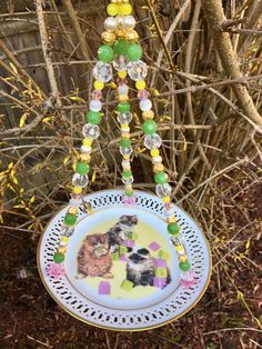 Repurposed Ceramic Dish Bird Feeder, Decorative Cat Plate, Garden Tea Party Decor, Upcycled Plate Feeder, Hanging Planter, Mother's Day Gift