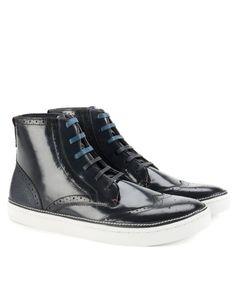 Patent brogue trainer - Dark Blue | Footwear | Ted Baker UK