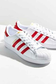 sports shoes 9a5b9 28ddc adidas Originals Red Superstar Sneaker Red Trainers, Leather Trainers,  Leather Sneakers, Red Sneakers