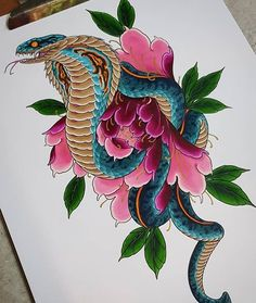 Cobra with peony by Mitchel Wielemaker Snake Drawing, Snake Art, Tattoo Sketches, Tattoo Drawings, Japanese Snake Tattoo, Japan Tattoo Design, Cobra Tattoo, Motifs Animal, Asian Tattoos