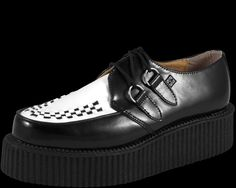 Black and White Leather Mondo Sole Creeper - T.U.K. Shoes | T.U.K. Shoes