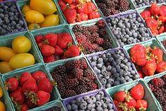 Farmers, Market, Berries, Fruit