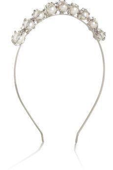 Rosantica Principessa silver-dipped pearl headband | NET-A-PORTER