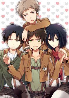 Rivaille (Levi), Eren Jaeger, Mikasa Ackerman and Armin Arlert