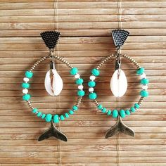 Girls Earrings, Diy Earrings, Earrings Handmade, Handmade Jewelry, Shell Jewelry, Diy Jewelry, Beaded Jewelry, Unique Jewelry, Bracelet Crafts