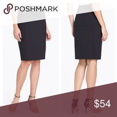 """Lafayette 148 Stretch Wool Skirt Double Vent Black Great career skirt! Size 14. Elasticated waist. Excellent condition! Waist 34"""" (unstretched), hips 41"""", length 24.5"""". Features double vented slits. Lafayette 148 New York Skirts Midi"""