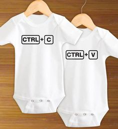 Control C Control V Copy Paste Twin Boys Girls Funny Saying Baby Shower Gift for Boys and Girls Cute One Piece Bodysuit Shirt on Etsy, $21.99