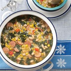 Winter Country Soup Recipe -My soup will warm your family up on the chilliest of winter nights! Featuring smoked sausage, beans and other vegetables, it's a hearty way to start a meal or a satisfying lunch all by itself! —Jeannette Sabo, Lexington Park, Maryland