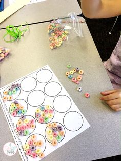 120th Day fruit loop necklaces using curling ribbon! | A Teeny Tiny Teacher