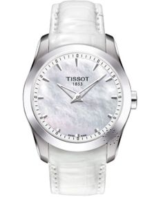 Tissot Couturier Secret Date Lady Quartz White MOP Dial Watch With  Stainless Steel Bracelet Shows The Date When You Press A Button