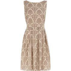 Neutral damask prom dress found on Polyvore