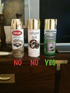 each cap on the bottles is the same color. However, the paint in the first 2 bottles were night & day different than their caps. They paint was dull w/ a brown-ish hue. Very similar to the gold on the label of the first can. Luckily the last bottle was PERFECT. *Please Spay, Neuter & Save a Life ~ Adopt from shelter/rescue <3