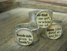 Dictionary Adjustable Silver Ring. $22.00, via Etsy.