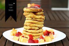 Coconut flour pancakes. Gluten free. Healthy. Breakfast. Coconut flour. Almond milk. Dairy free.