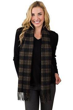 Jennie LIU Watermark Cashmere Blend Woven Scarf (Black/Brown Plaid), Women's
