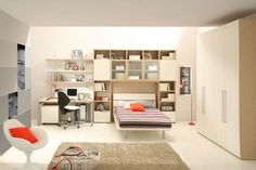 Brown bed lamp room young man teen design shelves Cabinet Desk Chair carpet
