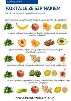 Koktajle ze szpinakiem Healthy Juice Drinks, Healthy Juices, Smoothie Drinks, Fruit Smoothies, Healthy Smoothies, Healthy Snacks, Healthy Eating, Raw Food Recipes, Diet Recipes