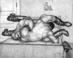 TOM OF FINLAND (Touko Laaksonen, Finnish, 1920 – 1991), Untitled, 1960, Graphite on paper, ToFF #60.11, Gift of Leonard Paoletti, Collection of Leslie-Lohman Museum of Gay and Lesbian Art, © 1960 Tom of Finland Foundation