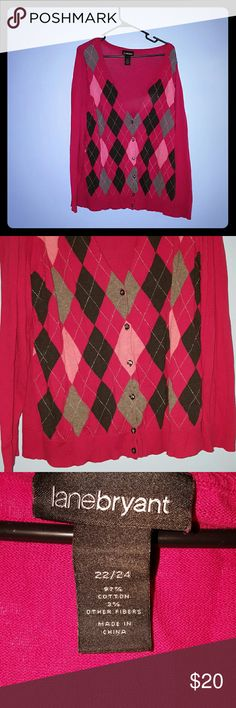 Pink cardigan Pink button up cardigan. Pattern has pink, gray and black diamonds with sparkly silver thread running through. No rips or stains. Comes from a smoke free home. Lane Bryant Sweaters Cardigans