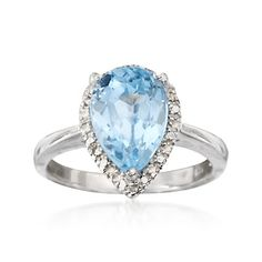 5.00 Carat Pear-Shaped Blue Topaz Ring With Diamonds in Sterling Silver  |   birthstone ring