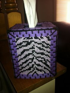 Purple zebra plastic canvas tissue box I made for my sister for her birthday!!!